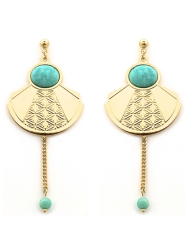 Grandes Boucles Pampille - Manhattan en Amazonite