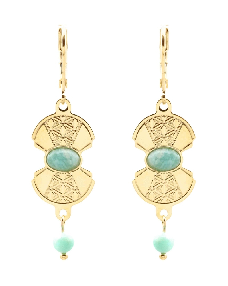 Boucles Pendantes - Manhattan en Amazonite