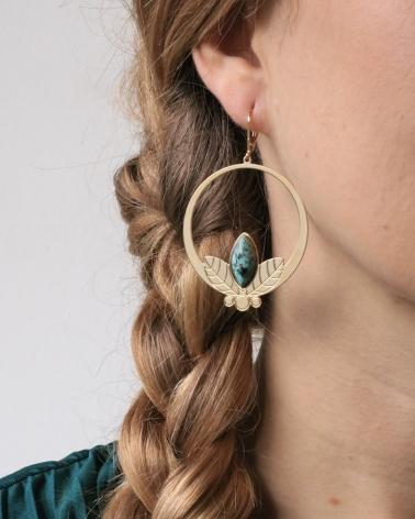 Grandes boucles d'oreilles pendantes Alice en Jaspe Africain
