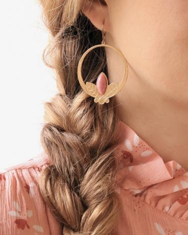 Grandes boucles d'oreilles pendantes Alice en Rhodonite