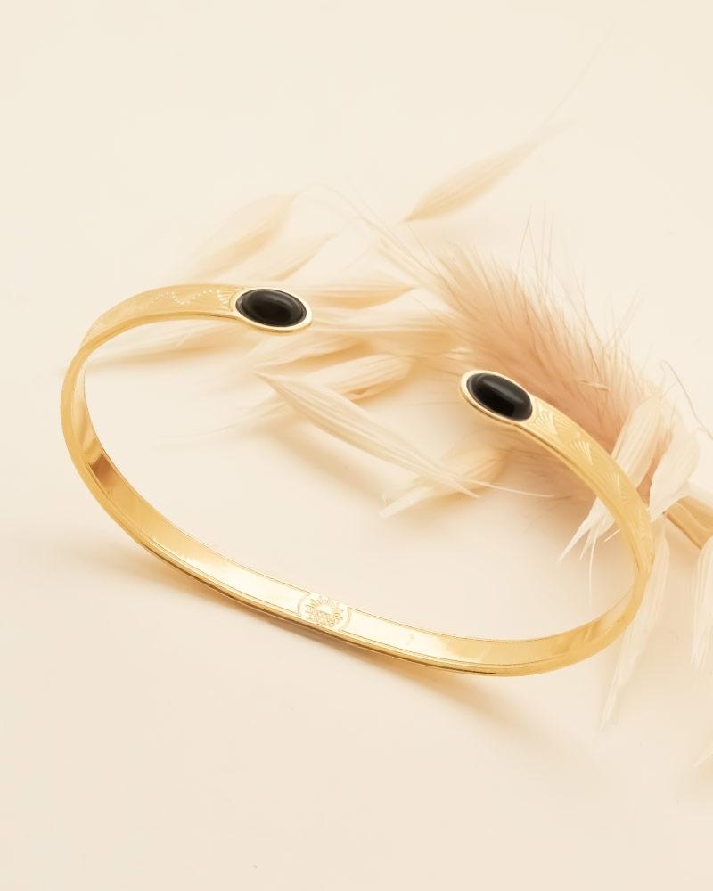 Bracelet Jonc Ovale Waikiki en Agate Noire