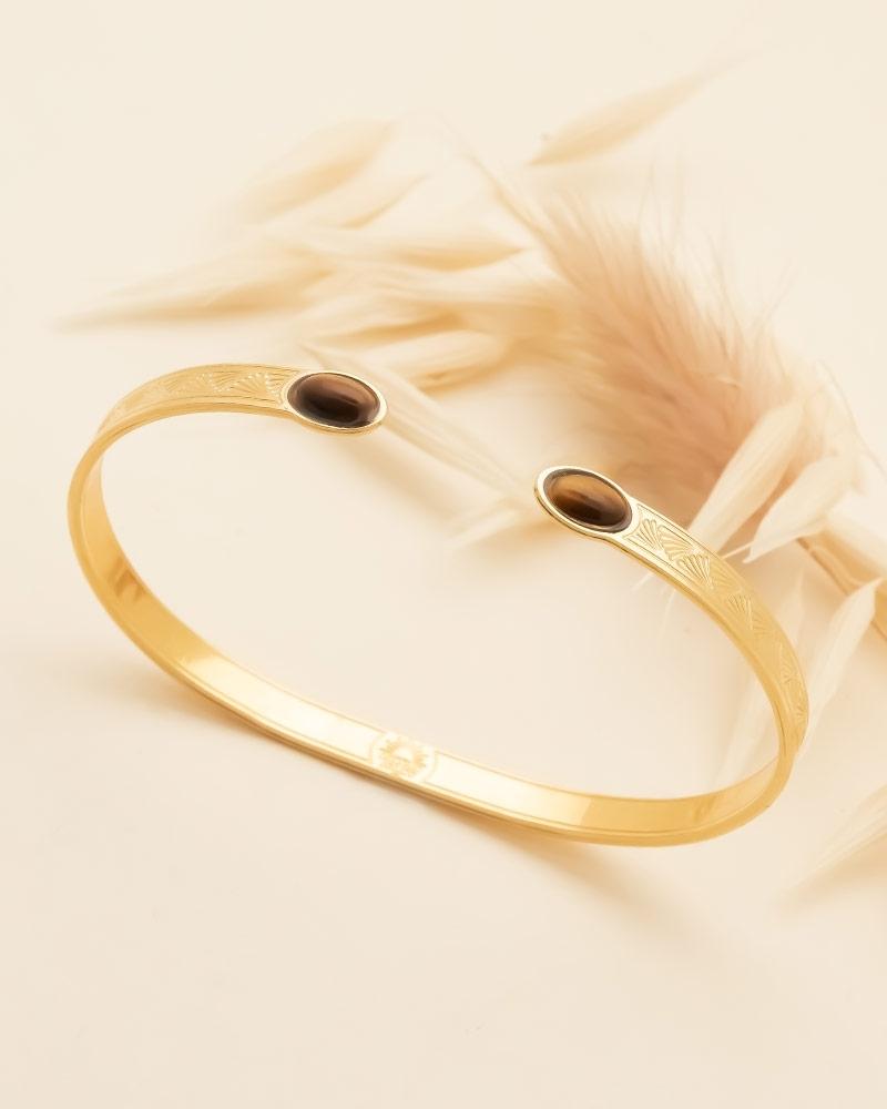 Bracelet Jonc Ovale Waikiki en Oeil de Tigre