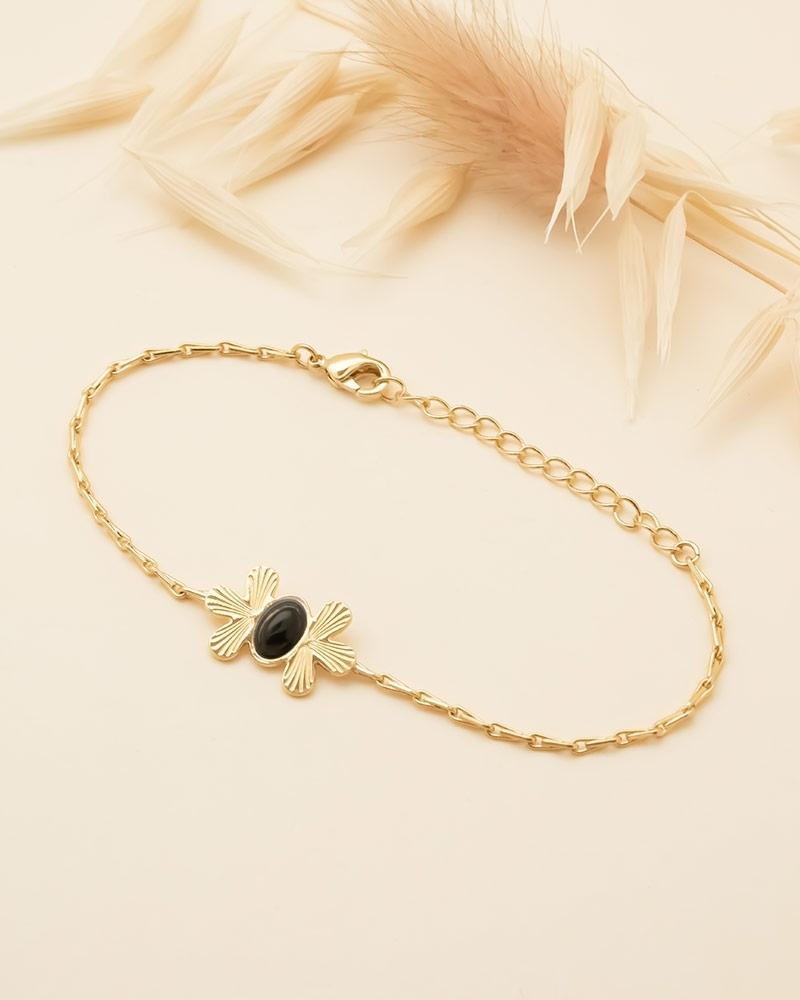 Waikiki - Bracelet Chaîne en Agate Noire