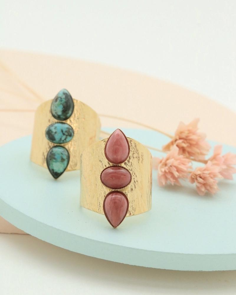 Bagues Larges Lili, 3 pierres, Jaspe Africain et Rhodonite